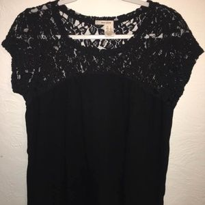 DKNY Black Tee with Lace Shoulders Top L